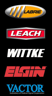 Product logos for: Labrie, Leach, Witke, Elgin, and Vactor