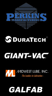 Product logos for: Perkins, Galfab, DuraTech, Gieant-Vac, and Midwest Lube